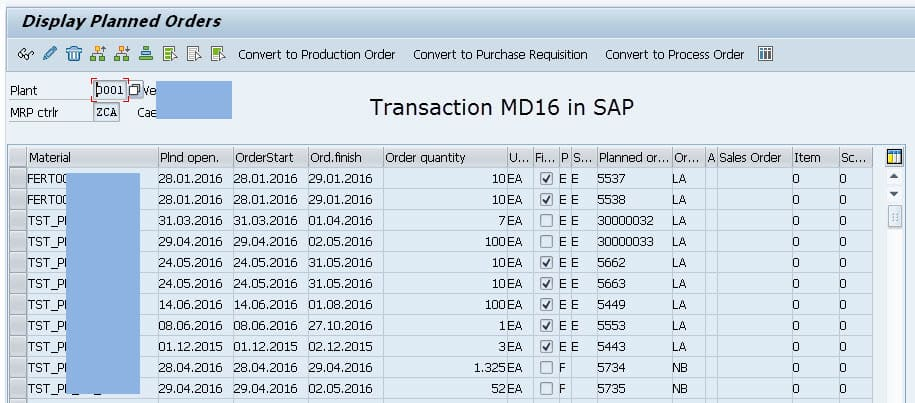 List of Material Requirements Planning MRP Planned Orders in SAP - Transaction MD16